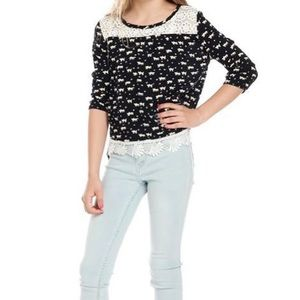 NWT Girl's Top With Front Lace Trim